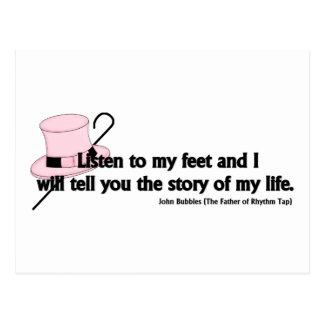 Escuche mi cita del golpecito de los pies postal