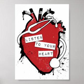 escuche su corazón anatómico póster