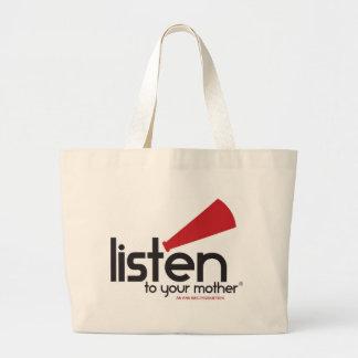 Escuche sus regalos de la madre bolsa tela grande