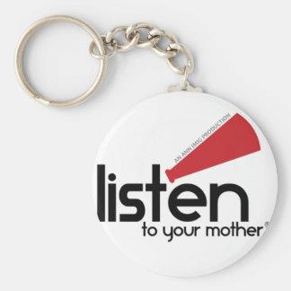 Escuche sus regalos de la madre llavero redondo tipo pin