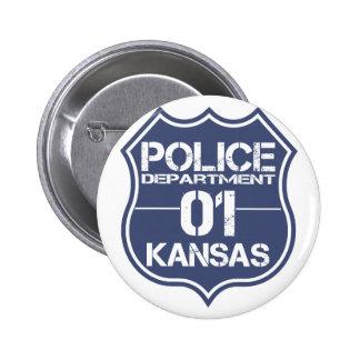 Escudo 01 del Departamento de Policía de Kansas Chapa Redonda 5 Cm