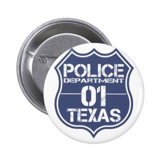 Escudo 01 del Departamento de Policía de Tejas Chapa Redonda 5 Cm