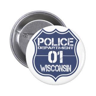 Escudo 01 del Departamento de Policía de Wisconsin Chapa Redonda 5 Cm