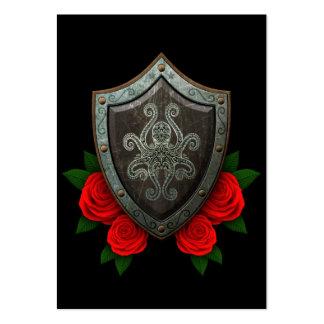 Escudo adornado gastado del pulpo con los rosas ro plantillas de tarjetas de visita