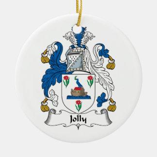 Escudo alegre de la familia adorno redondo de cerámica