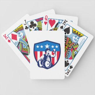 Escudo americano de la bandera del barrilete de barajas de cartas