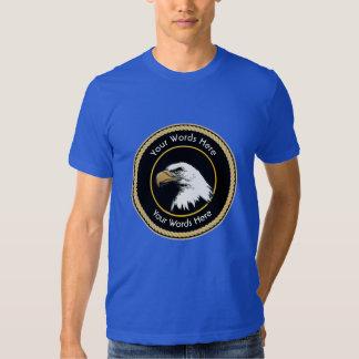 Escudo americano de la cuerda de Eagle calvo Remeras