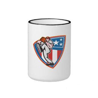 Escudo americano de la jarra del béisbol tazas