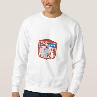 Escudo americano del palo del talud del béisbol suéter