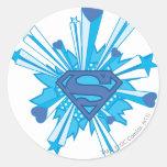 Escudo azul con los corazones pegatina redonda