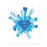 Escudo azul con los corazones postales