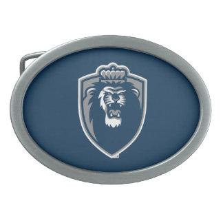 Escudo azul grande de los monarcas hebillas de cinturon ovales