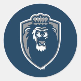 Escudo azul grande de los monarcas pegatina redonda