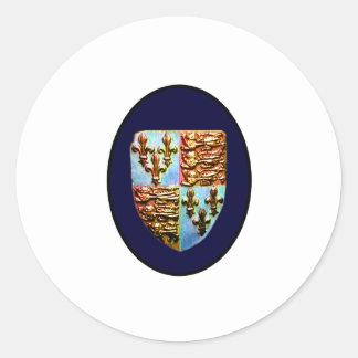 Escudo BG azul de la iglesia de Inglaterra Pegatina Redonda