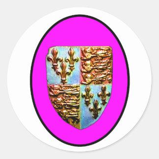 Escudo BG magenta de la iglesia de Inglaterra Pegatina Redonda