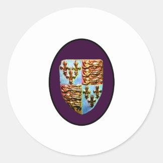 Escudo BG púrpura de la iglesia de Inglaterra Pegatina Redonda