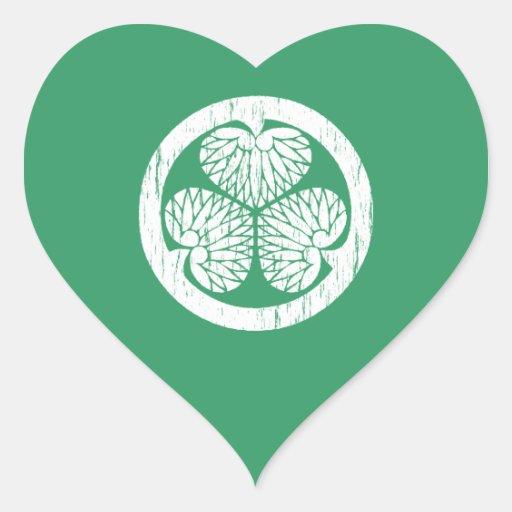 Escudo blanco de Tokugawa apenado Pegatinas Corazon Personalizadas