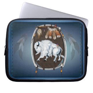 Escudo blanco del búfalo funda portátil