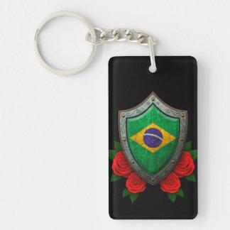 Escudo brasileño gastado de la bandera con los ros llavero rectangular acrílico a doble cara
