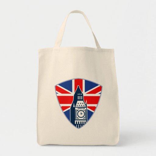 Escudo británico de la bandera de Big Ben Bolsas De Mano