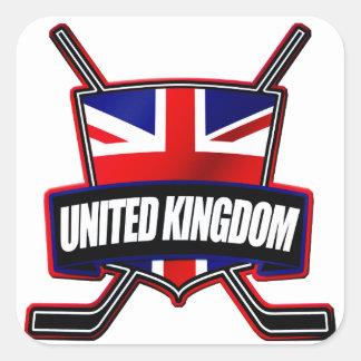 Escudo británico del hockey sobre hielo pegatina cuadrada