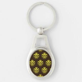 Escudo Brown amarillo de la familia Llavero Plateado Ovalado