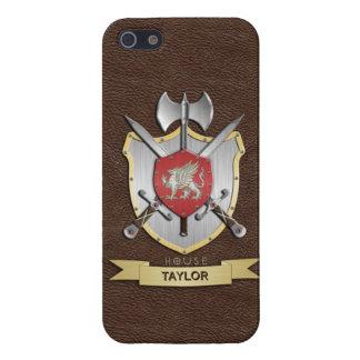 Escudo Brown de la batalla de Sigil del grifo iPhone 5 Protectores
