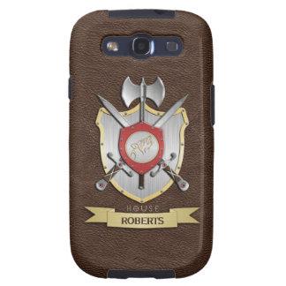 Escudo Brown de la batalla de Sigil del lobo del g Galaxy S3 Protectores