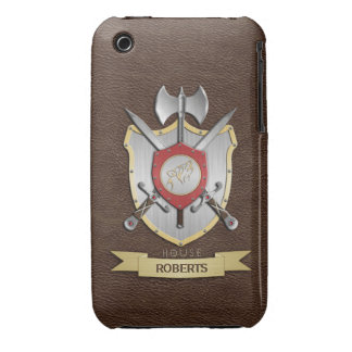 Escudo Brown de la batalla de Sigil del lobo del g Case-Mate iPhone 3 Cárcasas