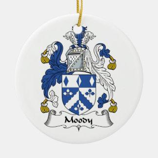 Escudo cambiante de la familia adorno navideño redondo de cerámica