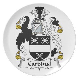 Escudo cardinal de la familia plato de cena