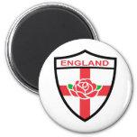 Escudo color de rosa inglés de la bandera de Ingla Imanes