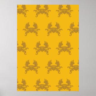 Escudo con alas de la corona de oro posters