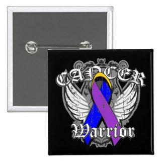 Escudo con alas guerrero del cáncer de vejiga pin