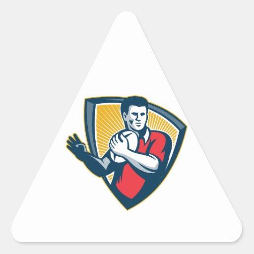 Escudo corriente de la bola del jugador del rugbi  calcomanías de trianguloes personalizadas