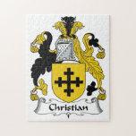 Escudo cristiano de la familia rompecabezas con fotos