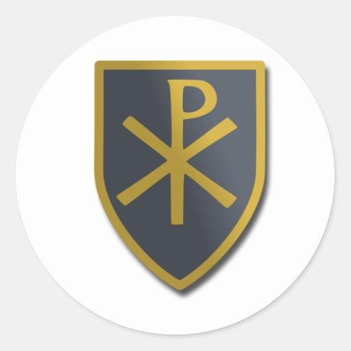 Escudo cristiano etiqueta redonda