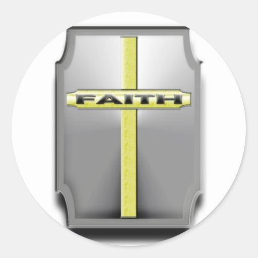 ESCUDO cruzado cristiano de la plata y del oro de  Pegatinas