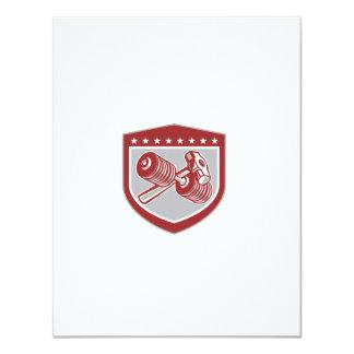 """Escudo cruzado de la pesa de gimnasia y de la invitación 4.25"""" x 5.5"""""""