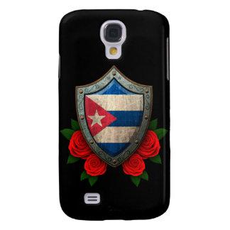 Escudo cubano gastado de la bandera con los rosas