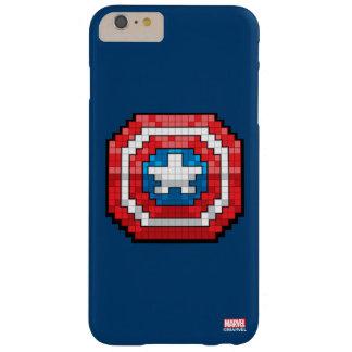 escudo de 16 bits de capitán América de Pixelated Funda Barely There iPhone 6 Plus