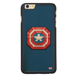 escudo de 16 bits de capitán América de Pixelated Funda De Arce Carved® Para iPhone 6 Plus Slim