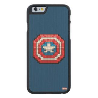 escudo de 16 bits de capitán América de Pixelated Funda De iPhone 6 Carved® De Arce