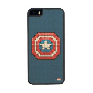 escudo de 16 bits de capitán América de Pixelated Funda De Madera Para iPhone SE/5/5s