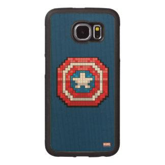 escudo de 16 bits de capitán América de Pixelated Fundas De Madera Para Samsung S6