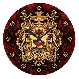 Escudo de armas adornado de Borgia Reloj Redondo Grande