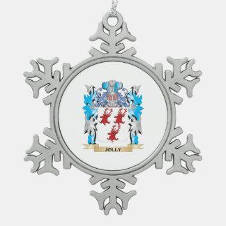 Escudo de armas alegre - escudo de la familia adorno de peltre en forma de copo de nieve