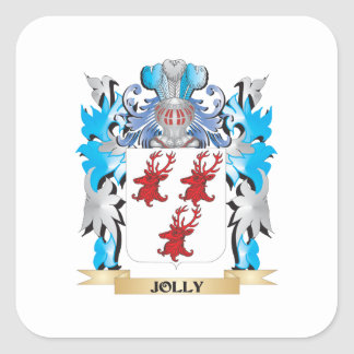 Escudo de armas alegre - escudo de la familia colcomanias cuadradas personalizadas