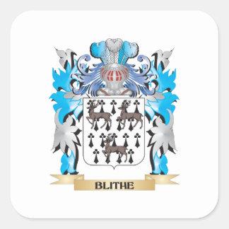 Escudo de armas alegre calcomanía cuadrada