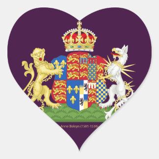 Escudo de armas Ana Bolena Pegatina En Forma De Corazón